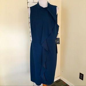 NWT Adrianna Papell Teal Ruffle Sheath Dress US 18